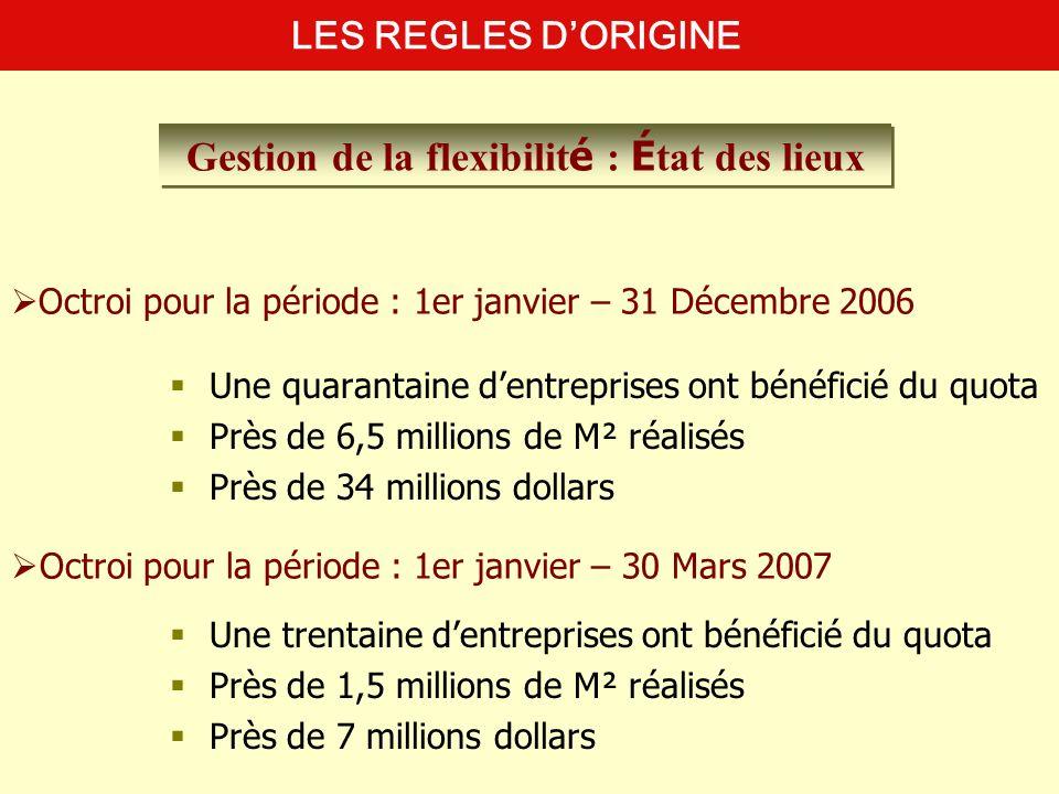 Octroi pour la période : 1er janvier – 31 Décembre 2006 Une quarantaine dentreprises ont bénéficié du quota Près de 6,5 millions de M² réalisés Près d