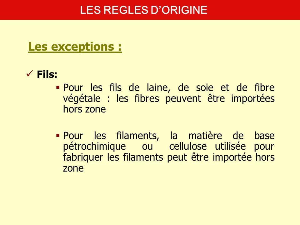 Tissus: Pour les étoffes en maille de coton et de fibre synthétique et les non-tissés, il faut que la fibre soit originaire Pour les tissus en soie et en lin, le fil de soie peut être importé LES REGLES DORIGINE Les exceptions :
