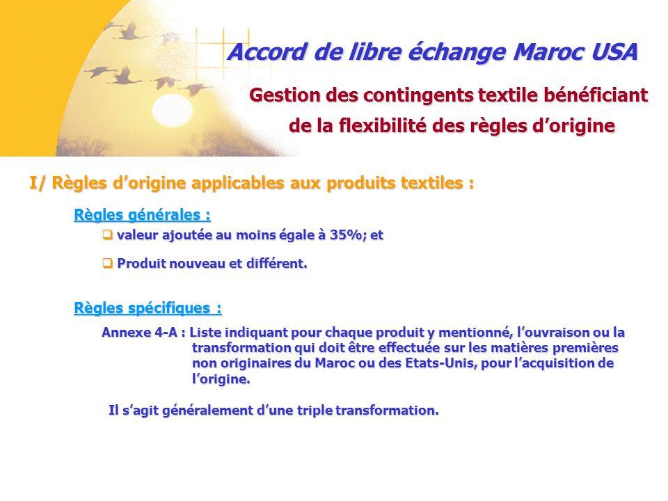 Accord de libre échange Maroc USA I/ Règles dorigine applicables aux produits textiles: I/ Règles dorigine applicables aux produits textiles : Gestion