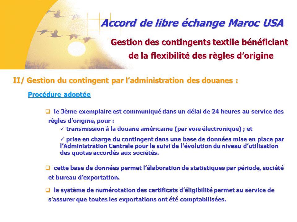 Accord de libre échange Maroc USA II/ Gestion du contingent par ladministration des douanes : Gestion des contingents textile bénéficiant de la flexib