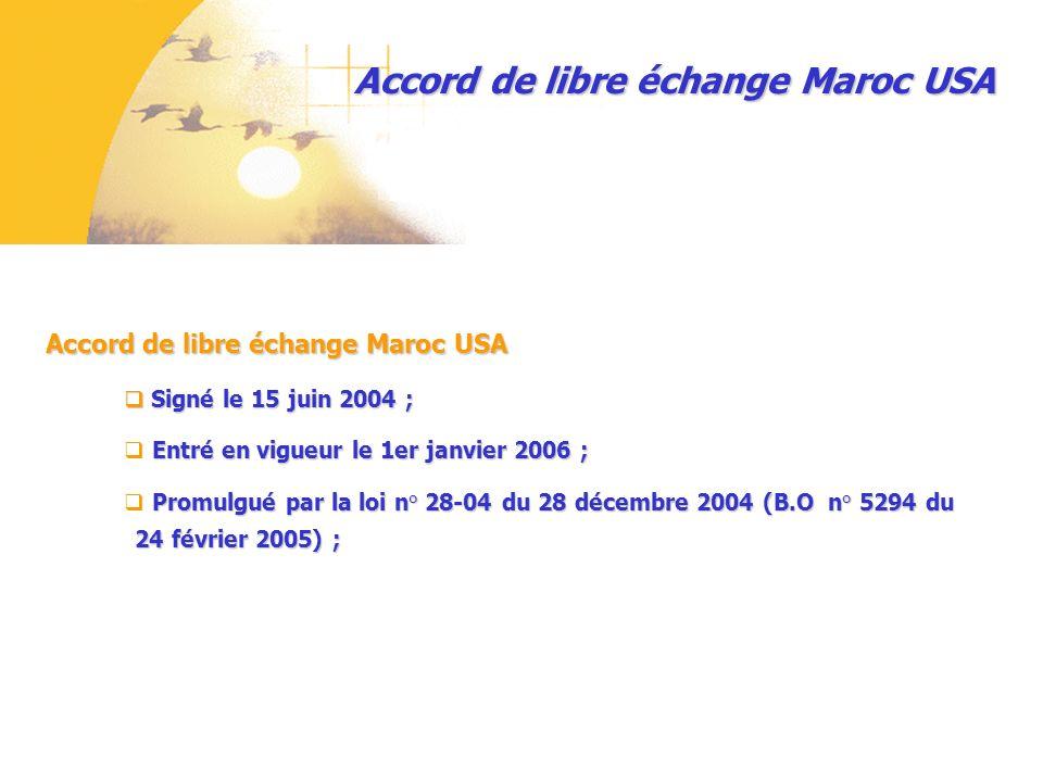 Signé le 15 juin 2004 ; Signé le 15 juin 2004 ; Entré en vigueur le 1er janvier 2006 ; Promulgué par la loi n° 28-04 du 28 décembre 2004 (B.O n° 5294