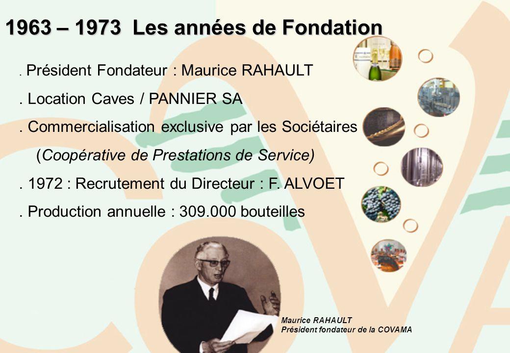 Maurice RAHAULT Président fondateur de la COVAMA 1963 – 1973 Les années de Fondation. Président Fondateur : Maurice RAHAULT. Location Caves / PANNIER