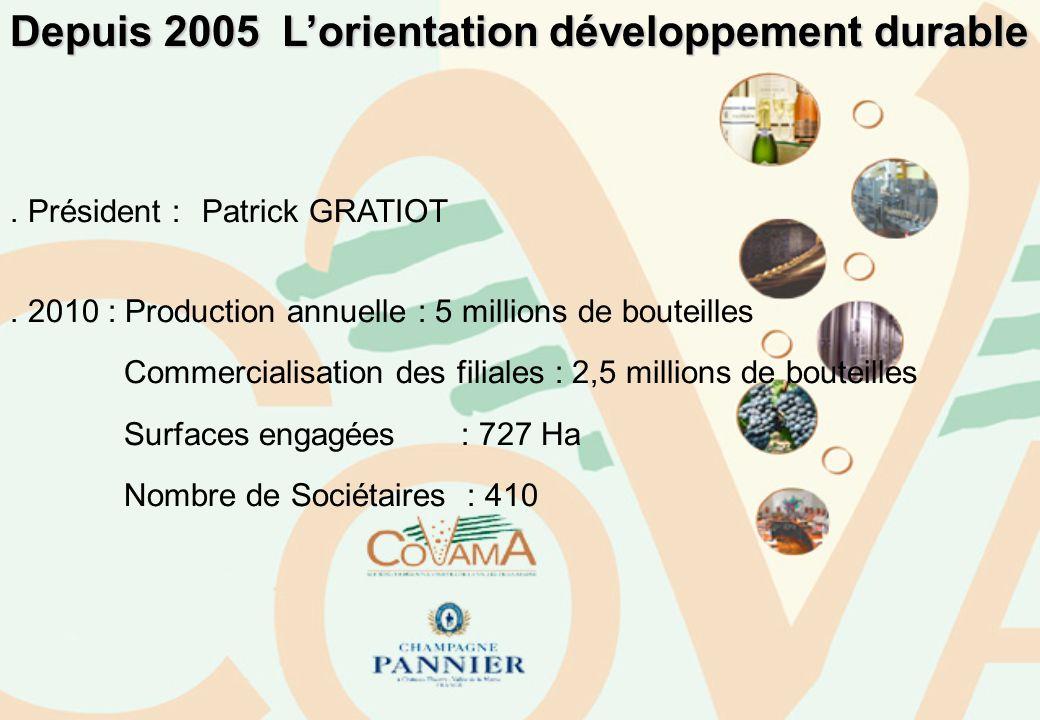Depuis 2005 Lorientation développement durable. Président : Patrick GRATIOT. 2010 : Production annuelle : 5 millions de bouteilles Commercialisation d