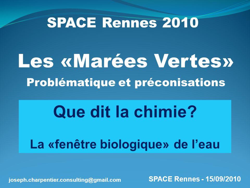 SPACE Rennes - 15/09/2010 joseph.charpentier.consulting@gmail.com Matières organiques (MO) = [ C, H, O, N, P, S…] La prolifération «excessive» est une conjonction : De lexcès de nutriments De la sensibilité du milieu Gaz carbonique Oligo-Éléments (Soufre,..) Nutriments (Azote, Phosphore) Energie solaire EAU Chloro- phylle Formation et prolifération des algues