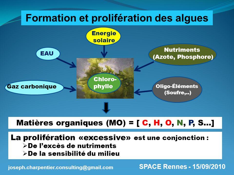SPACE Rennes - 15/09/2010 joseph.charpentier.consulting@gmail.com Matières organiques (MO) = [ C, H, O, N, P, S…] La prolifération «excessive» est une
