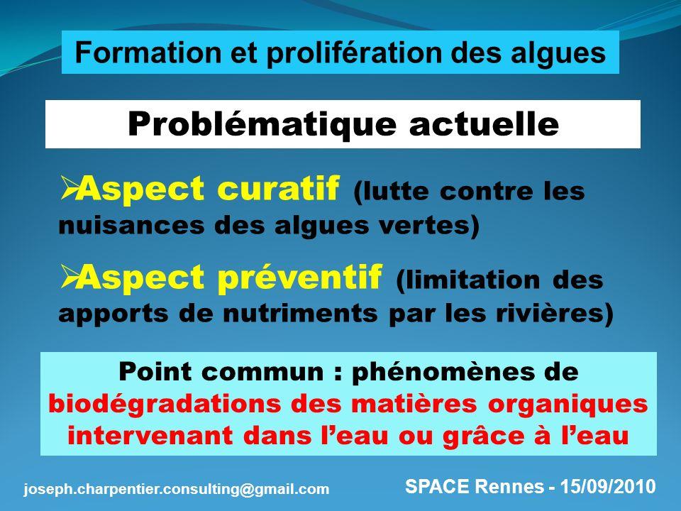 SPACE Rennes - 15/09/2010 joseph.charpentier.consulting@gmail.com 2 notions fondamentales Acidité-Basicité (pH) Zone privilégiée dactivité biologique : entre 6 et 8 Oxydo-Réduction (EH) Zone de stabilité de leau : entre – 400 et + 800 mV H2O = H + + OH - = H2 + 1/2 O2 Biotransformations des Matières Organiques dans leau