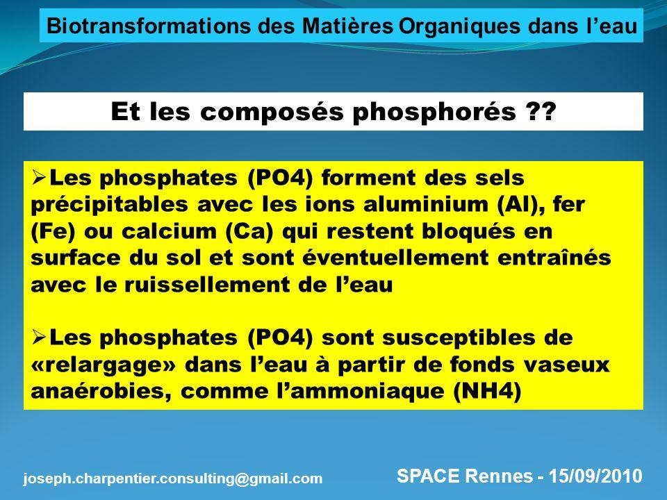 SPACE Rennes - 15/09/2010 joseph.charpentier.consulting@gmail.com Et les composés phosphorés ?? Les phosphates (PO4) forment des sels précipitables av