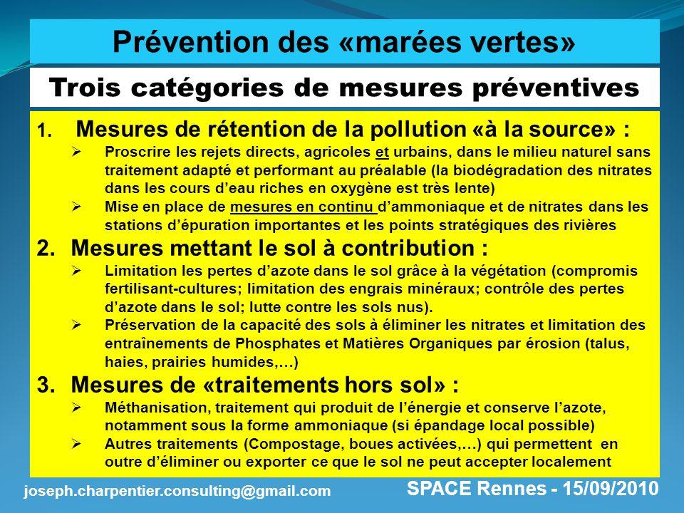 SPACE Rennes - 15/09/2010 joseph.charpentier.consulting@gmail.com Trois catégories de mesures préventives 1. Mesures de rétention de la pollution «à l