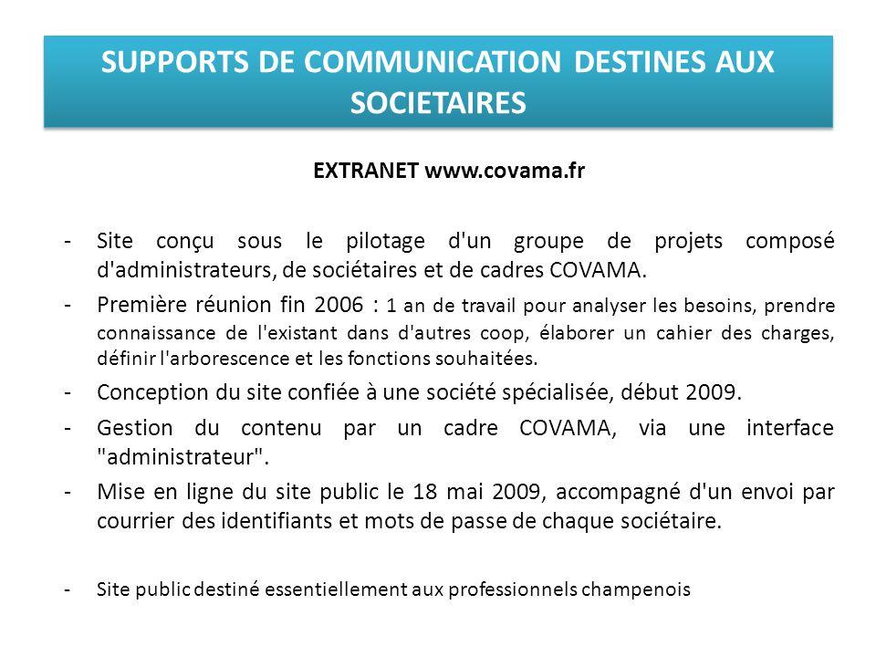 EXTRANET www.covama.fr -Site conçu sous le pilotage d'un groupe de projets composé d'administrateurs, de sociétaires et de cadres COVAMA. -Première ré