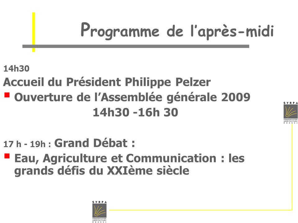 P rogramme de laprès-midi 14h30 Accueil du Président Philippe Pelzer Ouverture de lAssemblée générale 2009 14h30 -16h 30 17 h - 19h : Grand Débat : Ea