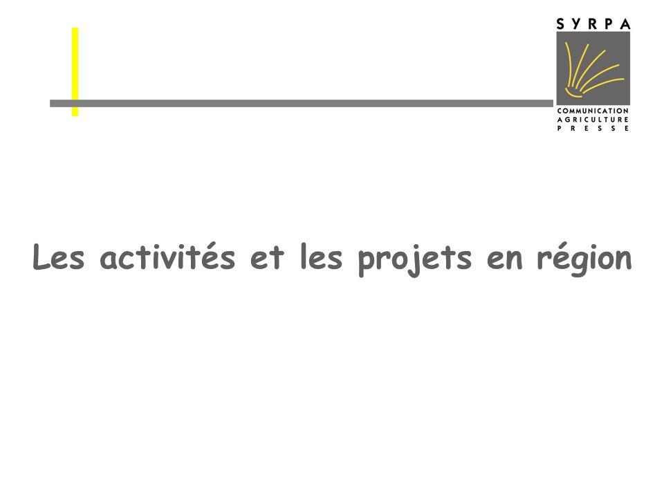Les activités et les projets en région