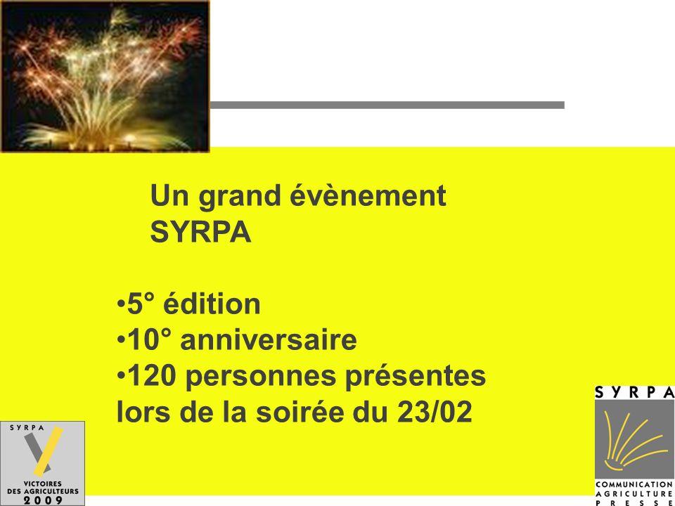 Un grand évènement SYRPA 5° édition 10° anniversaire 120 personnes présentes lors de la soirée du 23/02