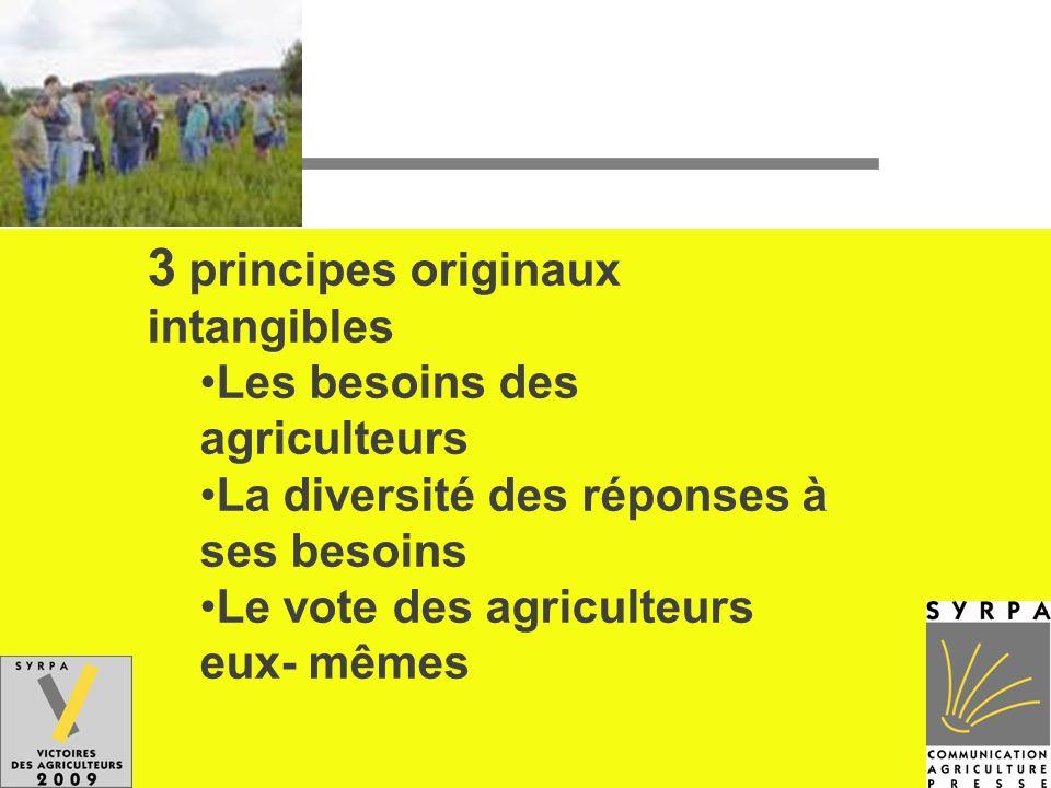 3 principes originaux intangibles Les besoins des agriculteurs La diversité des réponses à ses besoins Le vote des agriculteurs eux- mêmes