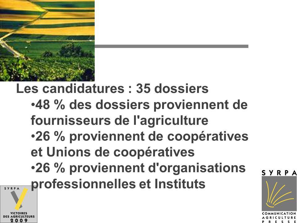 Les candidatures : 35 dossiers 48 % des dossiers proviennent de fournisseurs de l'agriculture 26 % proviennent de coopératives et Unions de coopérativ