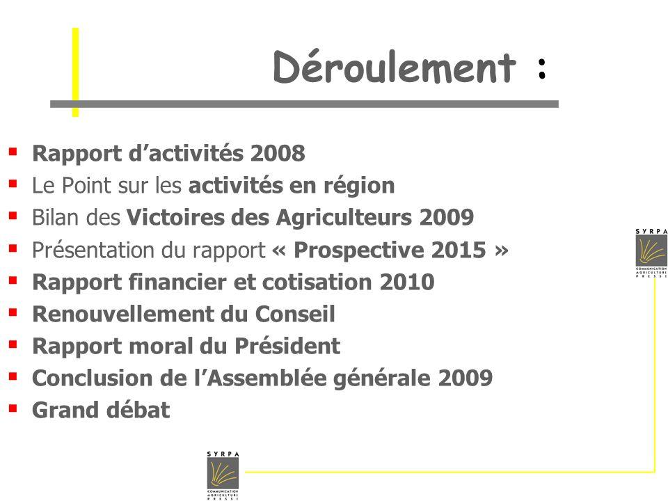 Déroulement : Rapport dactivités 2008 Le Point sur les activités en région Bilan des Victoires des Agriculteurs 2009 Présentation du rapport « Prospec