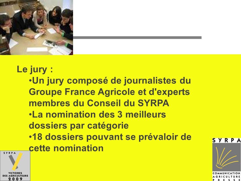 Le jury : Un jury composé de journalistes du Groupe France Agricole et d'experts membres du Conseil du SYRPA La nomination des 3 meilleurs dossiers pa