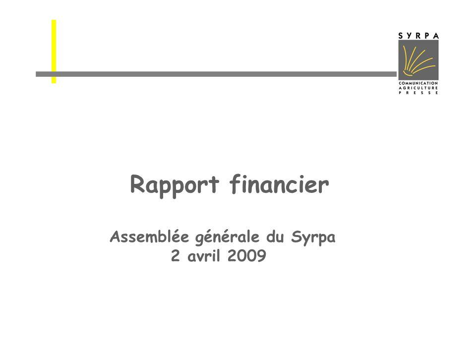 Rapport financier Assemblée générale du Syrpa 2 avril 2009
