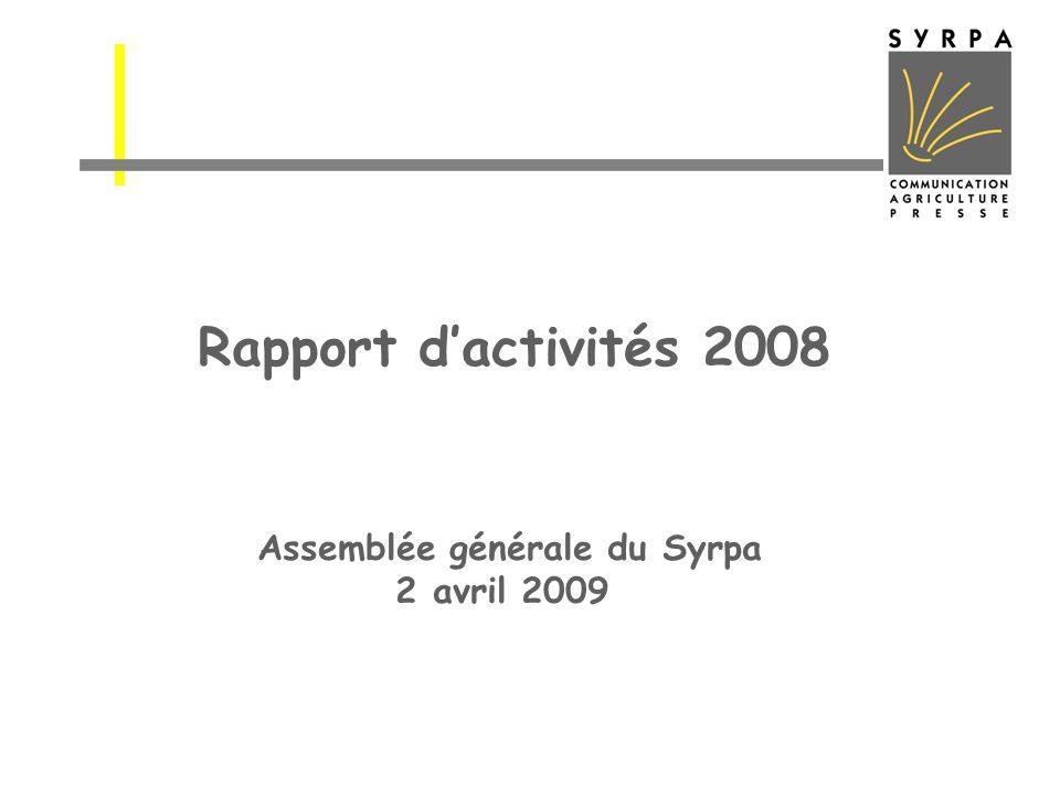 Rapport dactivités 2008 Assemblée générale du Syrpa 2 avril 2009