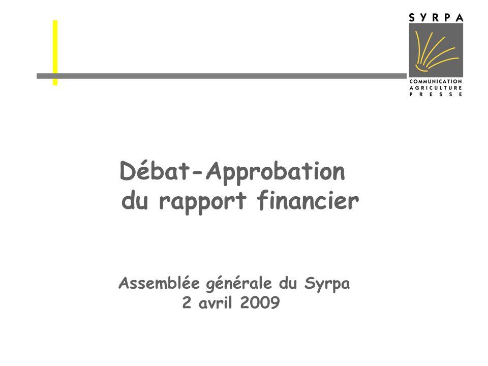 Débat-Approbation du rapport financier Assemblée générale du Syrpa 2 avril 2009