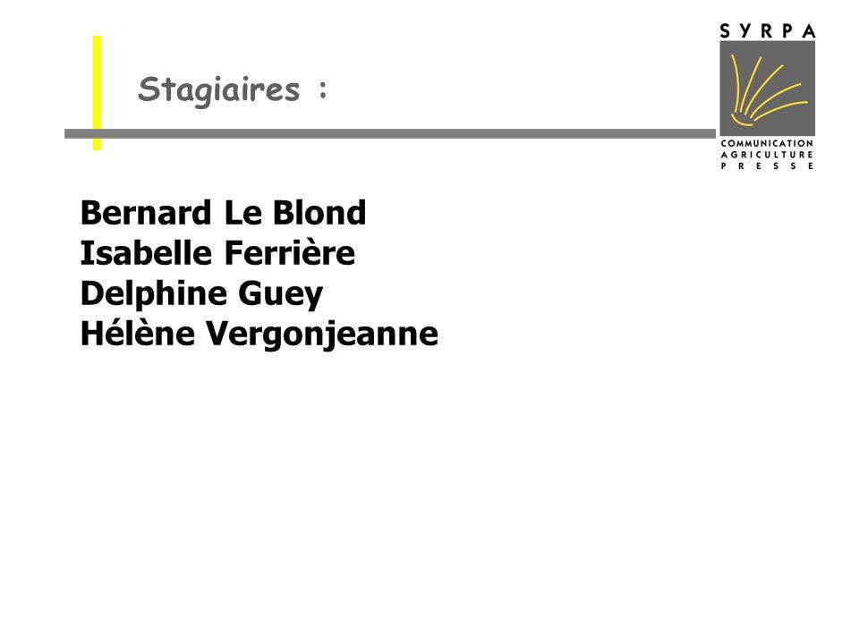 Stagiaires : Bernard Le Blond Isabelle Ferrière Delphine Guey Hélène Vergonjeanne
