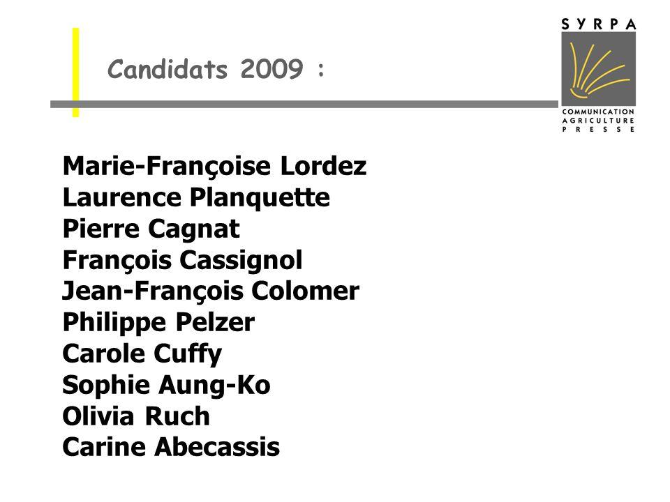 Candidats 2009 : Marie-Françoise Lordez Laurence Planquette Pierre Cagnat François Cassignol Jean-François Colomer Philippe Pelzer Carole Cuffy Sophie