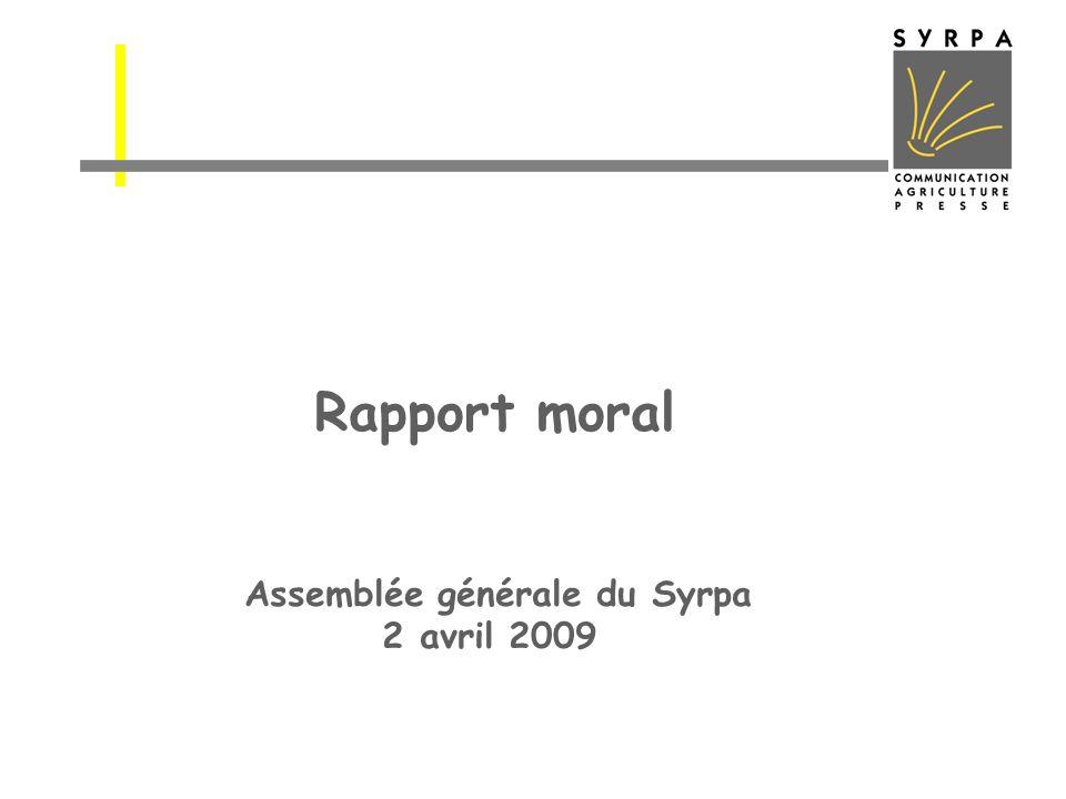 Rapport moral Assemblée générale du Syrpa 2 avril 2009