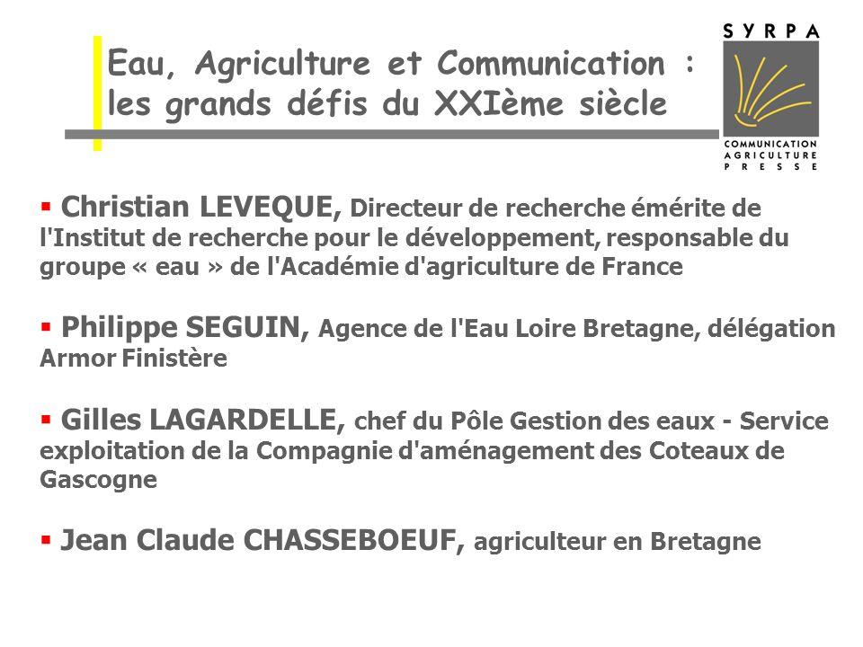 Christian LEVEQUE, Directeur de recherche émérite de l'Institut de recherche pour le développement, responsable du groupe « eau » de l'Académie d'agri