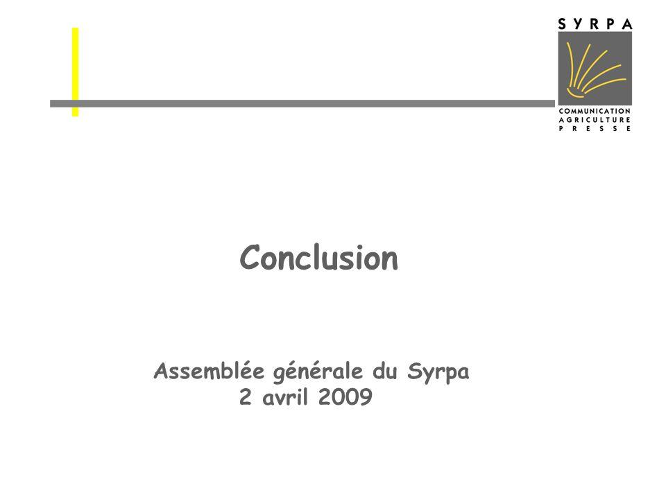 Conclusion Assemblée générale du Syrpa 2 avril 2009