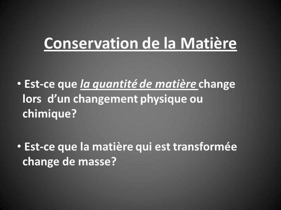 Conservation de la Matière Est-ce que la quantité de matière change lors dun changement physique ou chimique? Est-ce que la matière qui est transformé