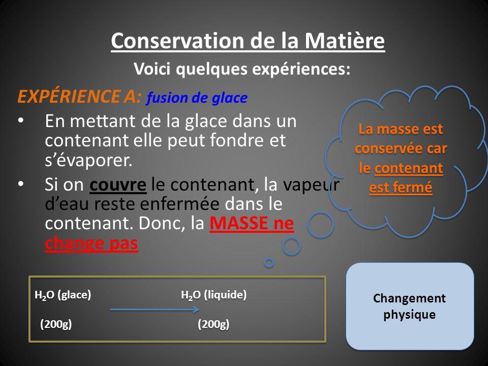 Conservation de la Matière EXPÉRIENCE A: fusion de glace En mettant de la glace dans un contenant elle peut fondre et sévaporer. Si on couvre le conte