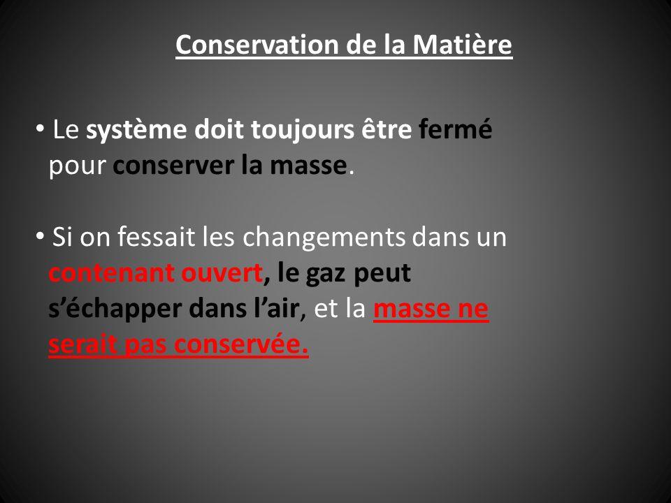 Conservation de la Matière Le système doit toujours être fermé pour conserver la masse. Si on fessait les changements dans un contenant ouvert, le gaz