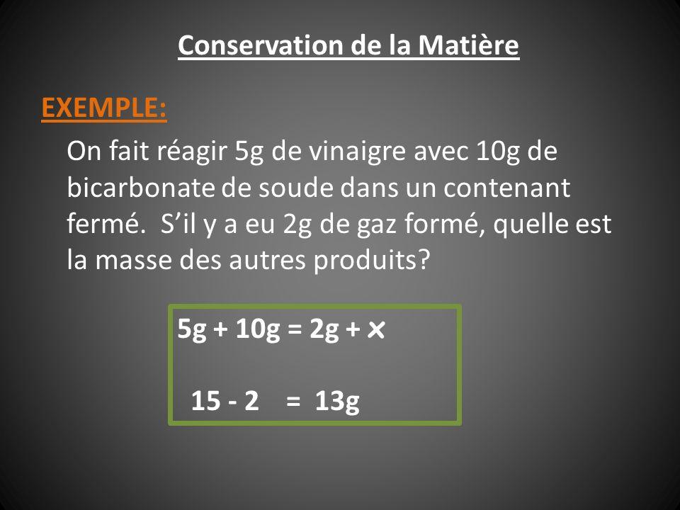 EXEMPLE: On fait réagir 5g de vinaigre avec 10g de bicarbonate de soude dans un contenant fermé. Sil y a eu 2g de gaz formé, quelle est la masse des a