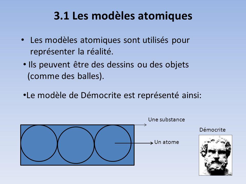 3.1 Les modèles atomiques Les modèles atomiques sont utilisés pour représenter la réalité. Ils peuvent être des dessins ou des objets (comme des balle