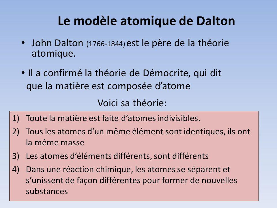 Le modèle atomique de Dalton John Dalton (1766-1844) est le père de la théorie atomique. Voici sa théorie: 1)Toute la matière est faite datomes indivi