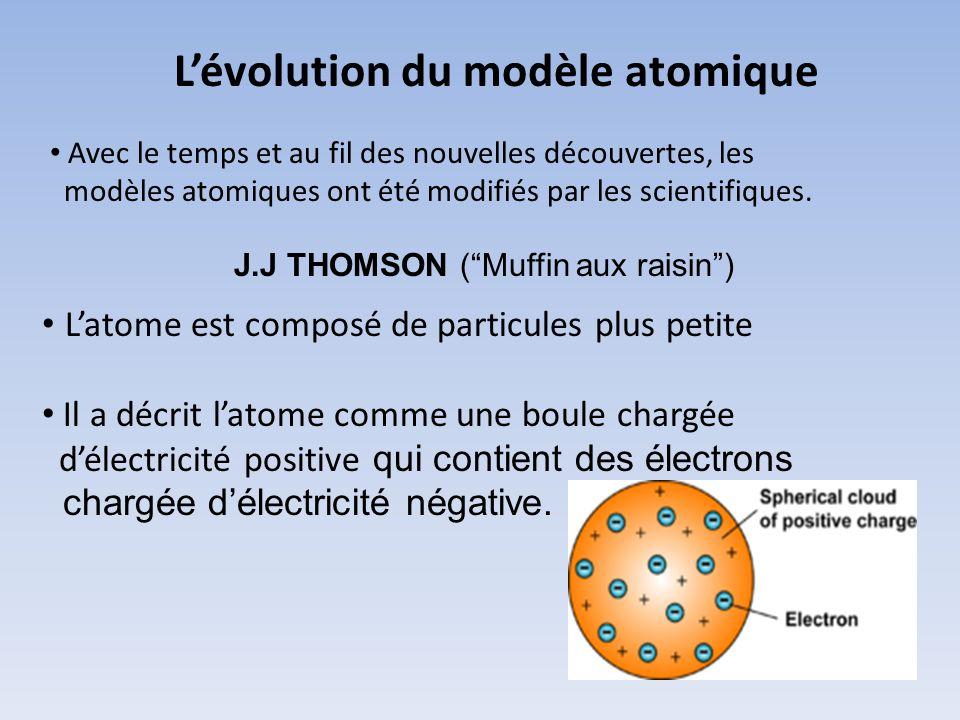 Lévolution du modèle atomique Avec le temps et au fil des nouvelles découvertes, les modèles atomiques ont été modifiés par les scientifiques. J.J THO