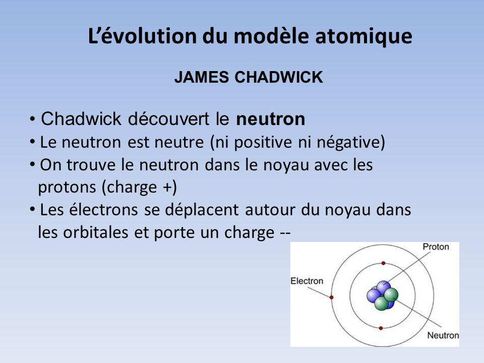 Lévolution du modèle atomique JAMES CHADWICK Chadwick découvert le neutron Le neutron est neutre (ni positive ni négative) On trouve le neutron dans l