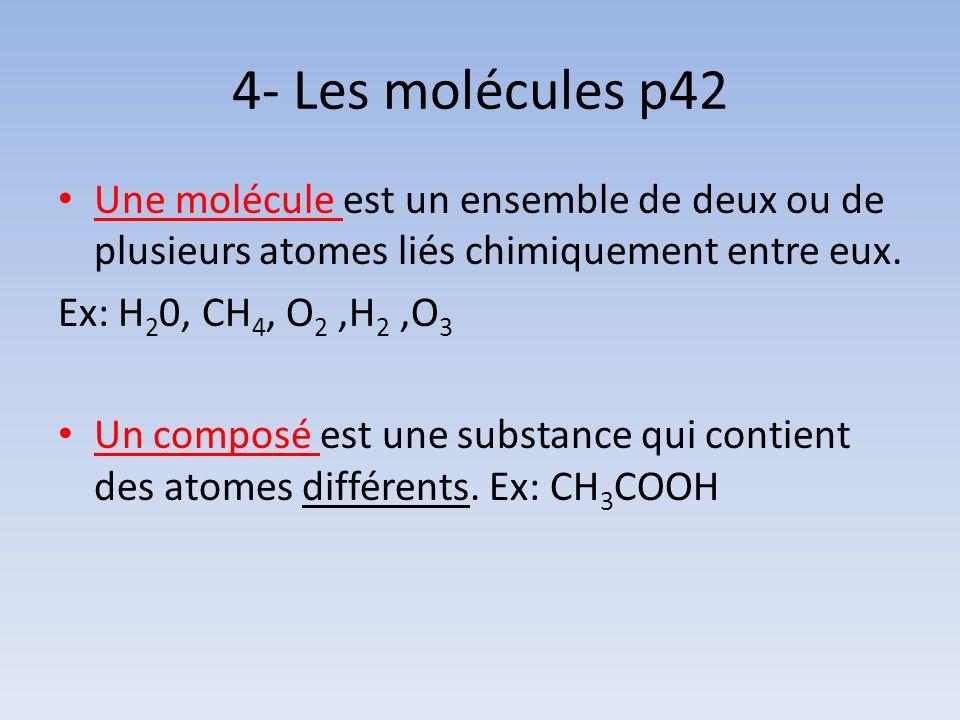4- Les molécules p42 Une molécule est un ensemble de deux ou de plusieurs atomes liés chimiquement entre eux. Ex: H 2 0, CH 4, O 2,H 2,O 3 Un composé