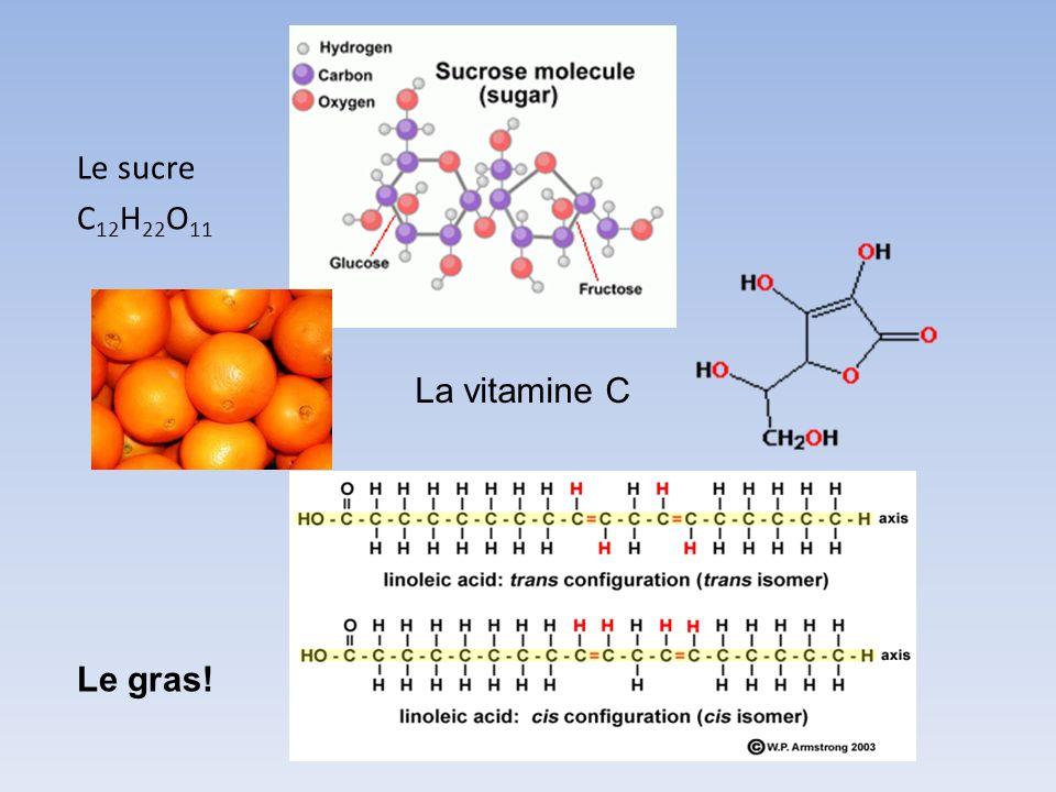 Le sucre C 12 H 22 O 11 La vitamine C Le gras!