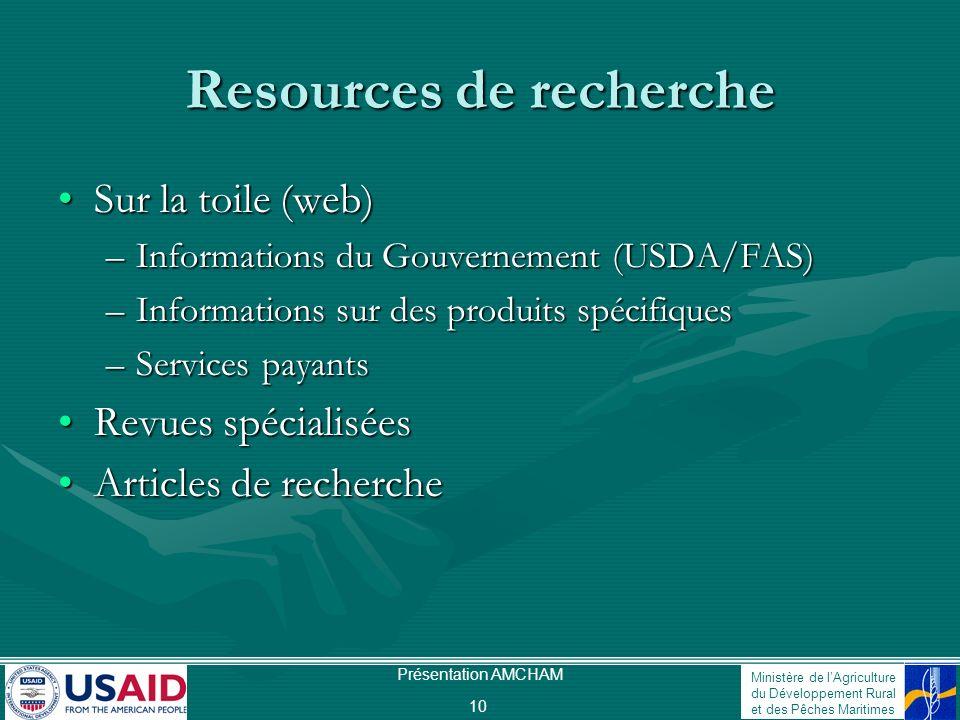 Ministère de lAgriculture du Développement Rural et des Pêches Maritimes Présentation AMCHAM 10 Resources de recherche Sur la toile (web)Sur la toile