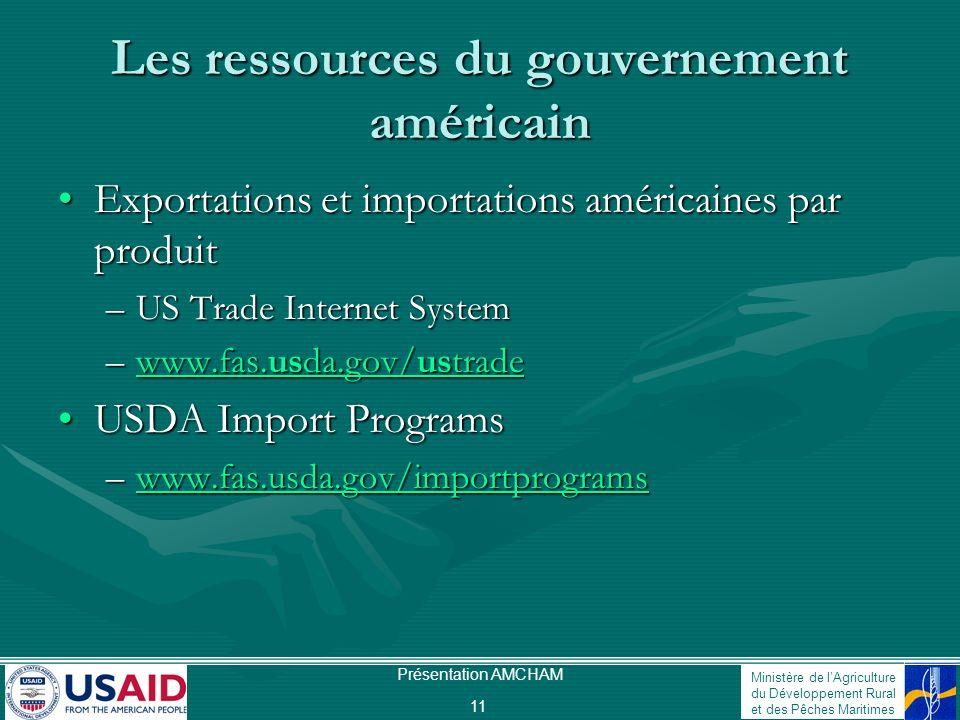 Ministère de lAgriculture du Développement Rural et des Pêches Maritimes Présentation AMCHAM 11 Les ressources du gouvernement américain Exportations