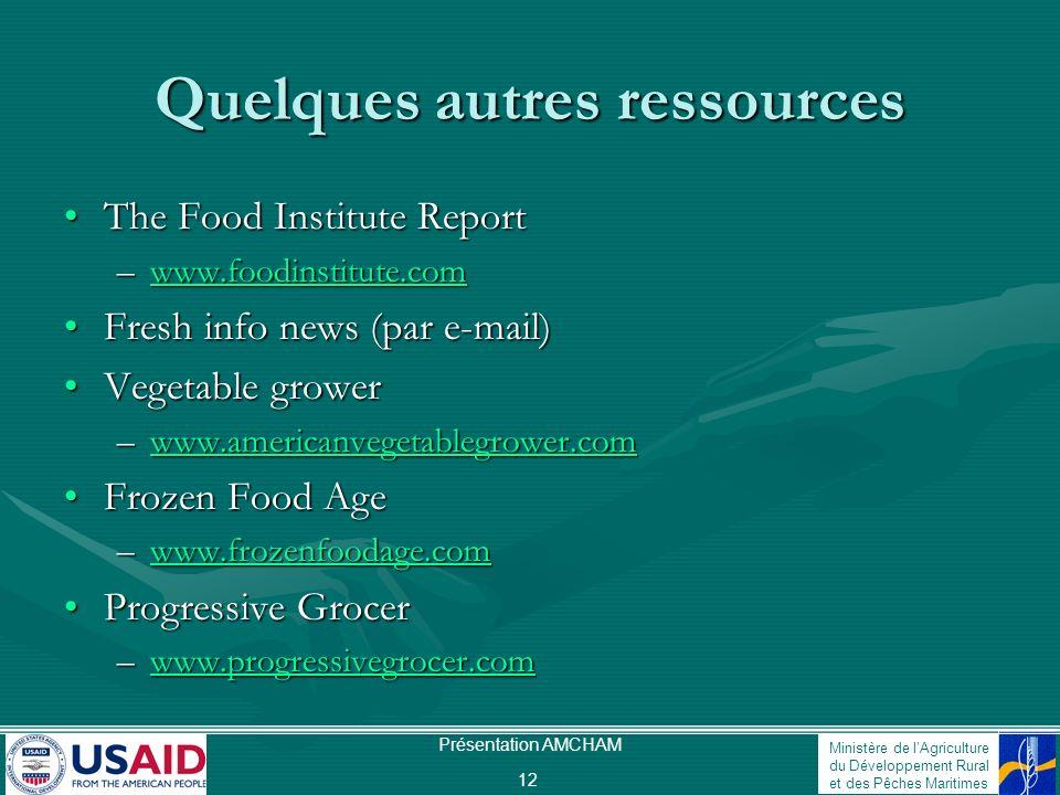 Ministère de lAgriculture du Développement Rural et des Pêches Maritimes Présentation AMCHAM 12 Quelques autres ressources The Food Institute ReportTh