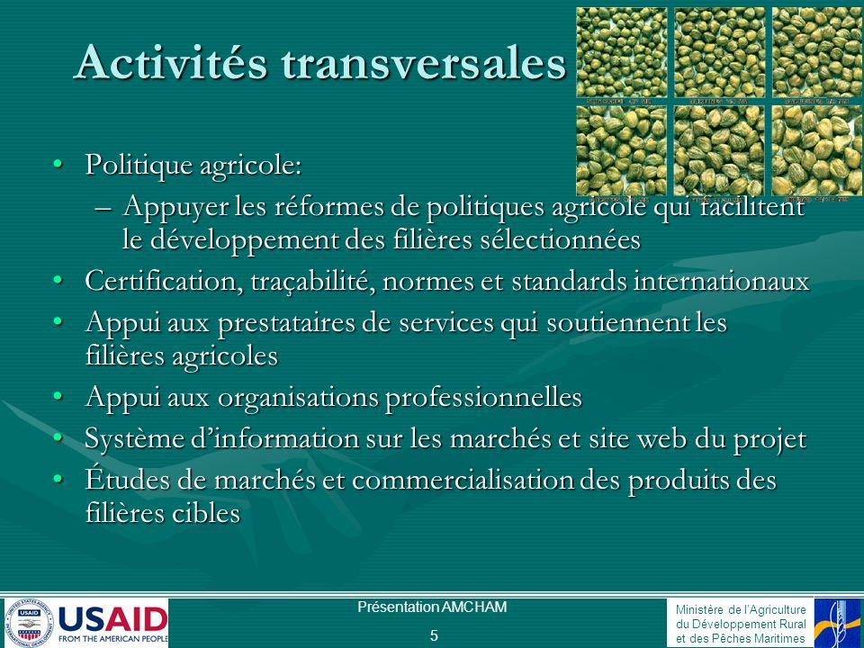 Ministère de lAgriculture du Développement Rural et des Pêches Maritimes Présentation AMCHAM 5 Activités transversales Politique agricole:Politique ag