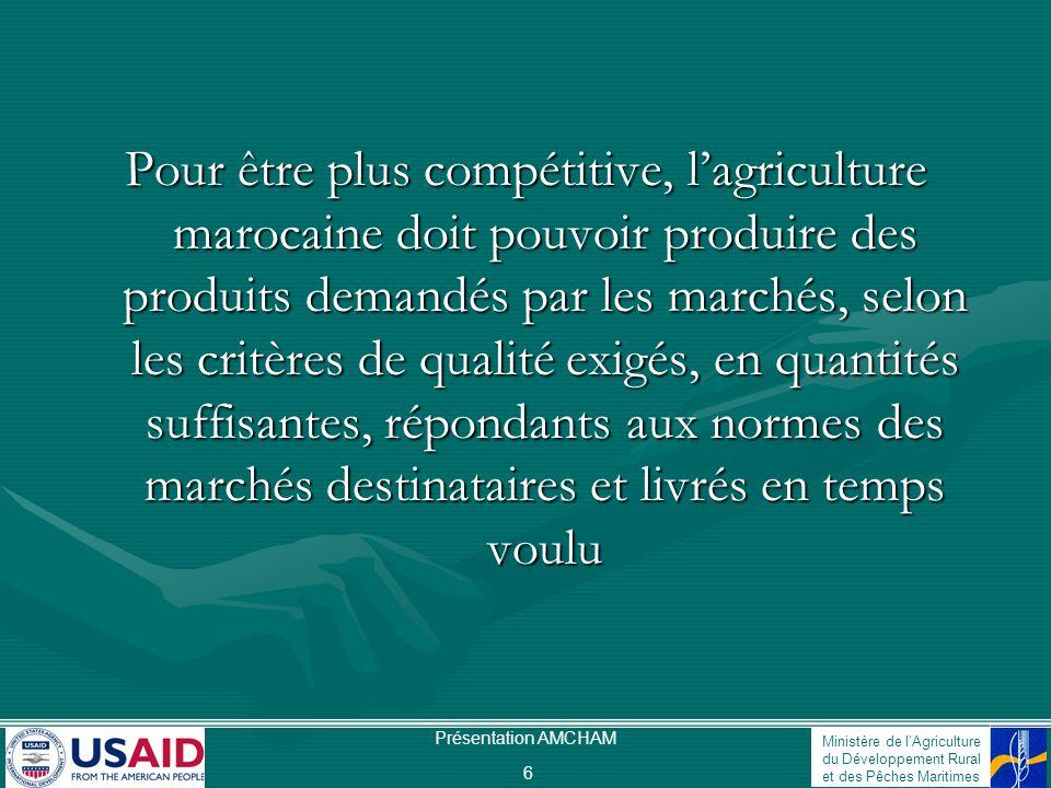 Ministère de lAgriculture du Développement Rural et des Pêches Maritimes Présentation AMCHAM 6 Pour être plus compétitive, lagriculture marocaine doit
