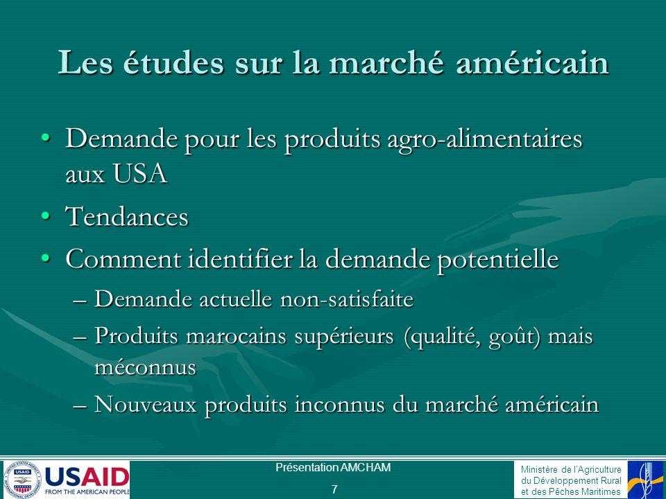 Ministère de lAgriculture du Développement Rural et des Pêches Maritimes Présentation AMCHAM 7 Les études sur la marché américain Demande pour les pro