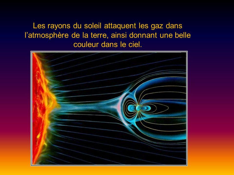 Les rayons du soleil attaquent les gaz dans latmosphère de la terre, ainsi donnant une belle couleur dans le ciel.