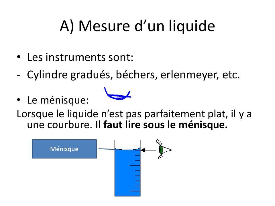 A) Mesure dun liquide Les instruments sont: -Cylindre gradués, béchers, erlenmeyer, etc. Le ménisque: Lorsque le liquide nest pas parfaitement plat, i