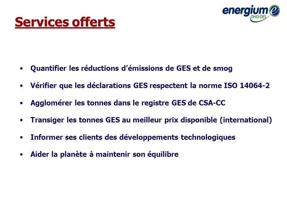 Services offerts Quantifier les réductions démissions de GES et de smog Vérifier que les déclarations GES respectent la norme ISO 14064-2 Agglomérer l
