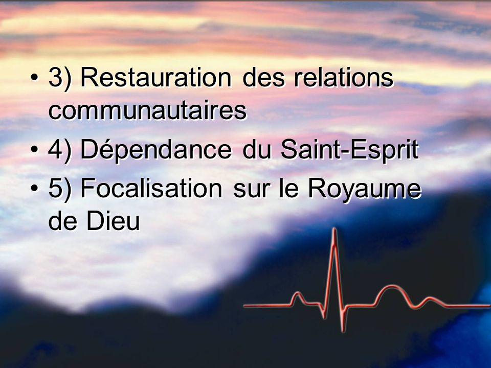 3) Restauration des relations communautaires 4) Dépendance du Saint-Esprit 5) Focalisation sur le Royaume de Dieu 3) Restauration des relations commun