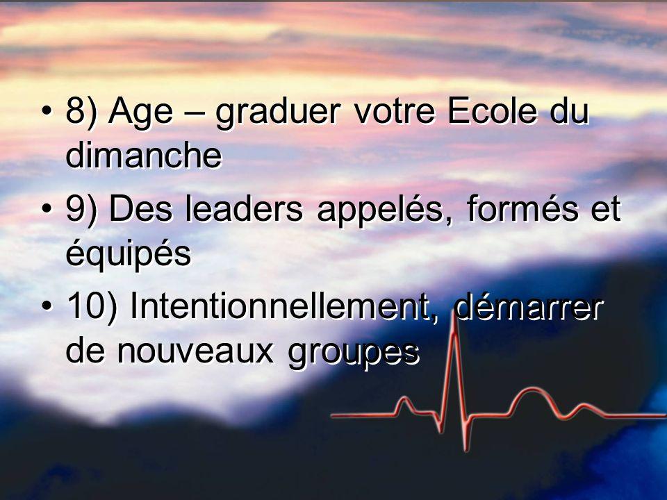 8) Age – graduer votre Ecole du dimanche 9) Des leaders appelés, formés et équipés 10) Intentionnellement, démarrer de nouveaux groupes 8) Age – gradu
