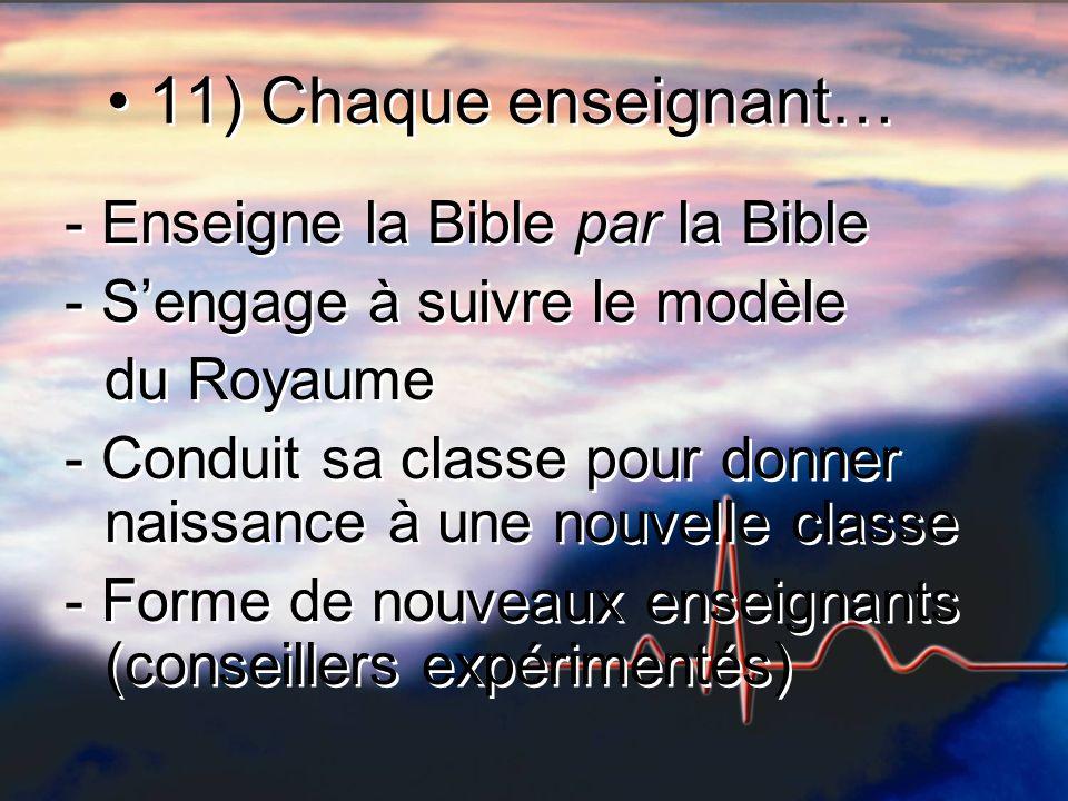 11) Chaque enseignant… - Enseigne la Bible par la Bible - Sengage à suivre le modèle du Royaume - Conduit sa classe pour donner naissance à une nouvelle classe - Forme de nouveaux enseignants (conseillers expérimentés) - Enseigne la Bible par la Bible - Sengage à suivre le modèle du Royaume - Conduit sa classe pour donner naissance à une nouvelle classe - Forme de nouveaux enseignants (conseillers expérimentés)